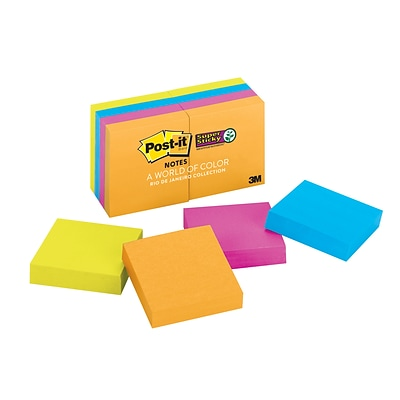 Post-it® Super Sticky Notes, 2 x 2 Rio De Janeiro Collection, 90 Sheets/Pad, 8 Pads/Pack (622-8SSAU)