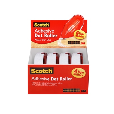 Scotch® Adhesive Dot Roller Value Pack, .31 x 49, 4/Pack