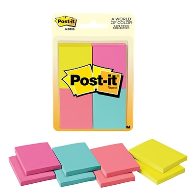 "Post-it® Notes, 1.5"" x 2"", Cape Town Collection, 50 Sheets/Pad, 8 Pads/Pack (653-8AF)"