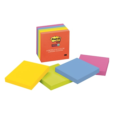 Post-it® Super Sticky Notes, 3 x 3, Marrakesh Collection, 5 Pads/Pack (654-5SSAN)