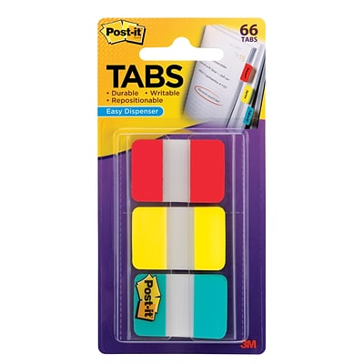 Post-it® Tabs, 1 Wide, Solid, Assorted Colors, 66 Tabs/Pack (686-RYB)