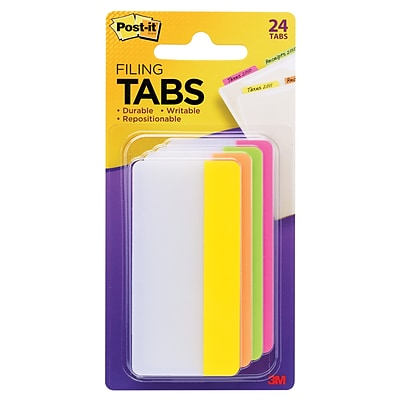 Post-it® Filing Tabs, 3 Wide, Solid, Assorted Colors, 24 Tabs/Pack (686-PLOY3IN)