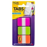 Post-it® Tabs, 1 Wide, Assorted Colors, 66 Tabs/Pack (686-PGO)