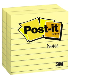 "Post-it® Notes, 4"" x 4"" Canary Yellow, Lined, 300 Sheets/Pad, 2 Pads/Pack (675-YL-2PK)"