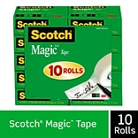 Scotch® Magic™ Tape Refill, Invisible, Write On, Matte Finish, 3/4 x 27.77 yds., 1 Core, 10 Rolls