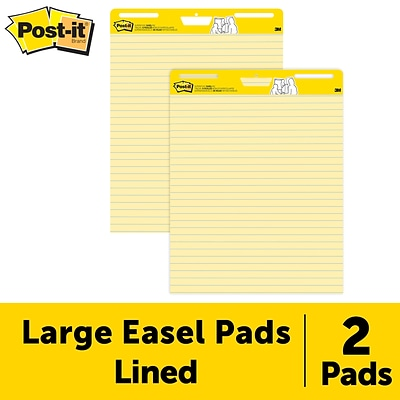 Post-it® Super Sticky Easel Pad, 25 x 30, Yellow Paper with Lines, 30 Sheets/Pad, 2 Pads/Pack (561)