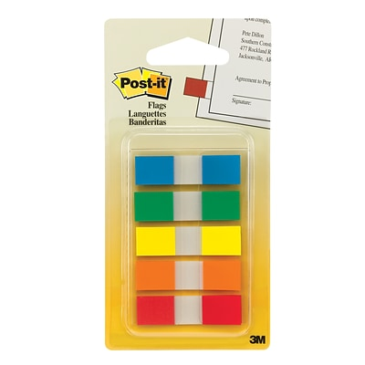 Post-it® Flags, .47 Wide, Assorted Colors, 100 Flags/Pack (683-5CF)