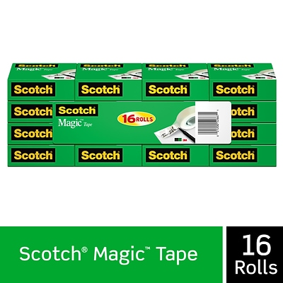 Scotch® Magic Tape, Invisible, Write On, Matte Finish, 3/4 x 27.77 yds., 1 Core, 16 Rolls (810K16)