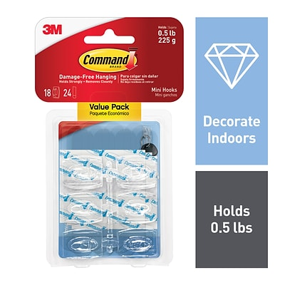 Command™ Clear Mini Hooks, Clear, 18/Pack