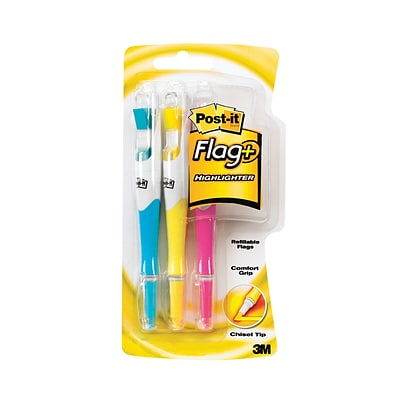Post-it® Flag Highlighters, Assorted Colors, 3/Pack (689-HL3)