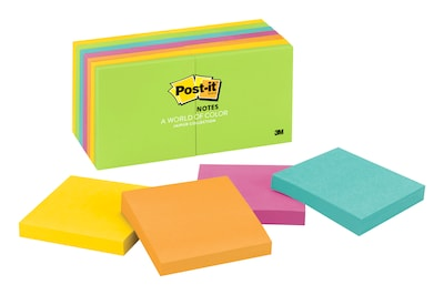 "Post-it® Notes, 3"" x 3"", Jaipur Collection, 14 Pads/Pack (654-14AU)"