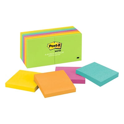Post-it® Notes, 3 x 3, Jaipur Collection, 14 Pads/Pack (654-14AU)