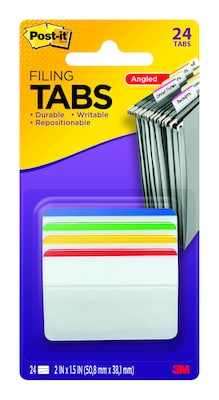 "Post-It® Hanging File Folder Durable Tabs,  2"" Wide, 4 Assorted Colors, Lined, 24 Tabs/Pack (686A1)"