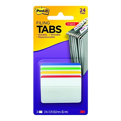 Post-It® Hanging File Folder Durable Tabs,  2 Wide, 4 Assorted Colors, Lined, 24 Tabs/Pack (686A1)