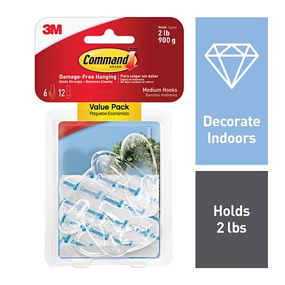 Command™ Medium Hooks Value Pack, Clear, 6 Hooks (17091CLR-6ES)