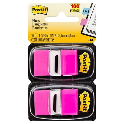 Post-it® 1 Bright Pink Flags with Pop-Up Dispenser, 2 Pack