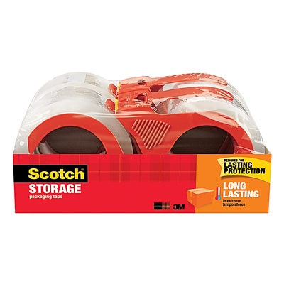 Scotch Long Lasting Moving & Storage Packing Tape with Dispenser, 1.88 x 38.2 yds, Clear, 4/Pack