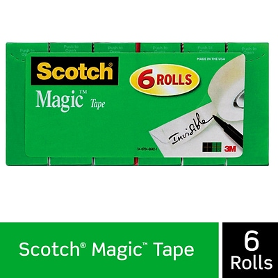 Scotch® Magic Tape, Invisible, Write On, Matte Finish, 3/4 x 27.77 yds., 1 Core, 6 Rolls (810K6)