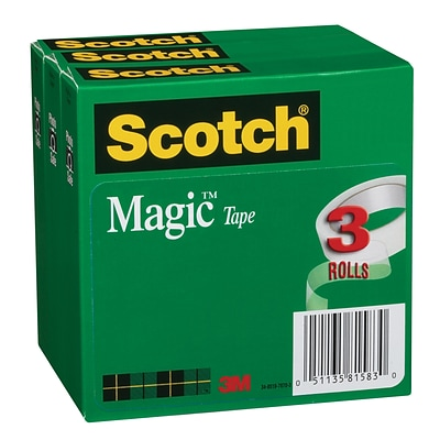 Scotch® Magic Tape, Invisible, Write On, Matte Finish, 3/4 x 27.77 yds., 1 Core, 3 Rolls (810K3)
