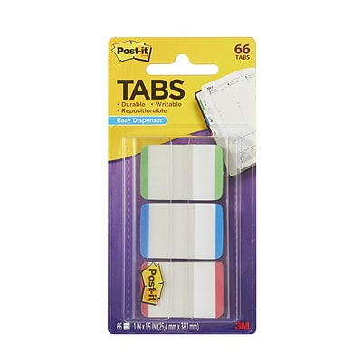 Post-it® Tabs, 1 Wide, Lined, Assorted Colors, 66 Tabs/Pack (686L-GBR)