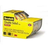 Scotch® Permanent Double Sided Tape w/Refillable Dispenser, 1/2 x 7 yds., 1 Core, 3 Rolls (3136)