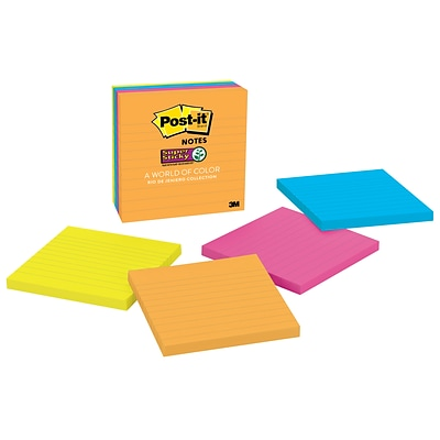 Post-it® Super Sticky Notes, 4 x 4, Rio de Janeiro Collection, Lined, 90 Sheets/Pad, 4 Pads/Pack (675-4SSUC)