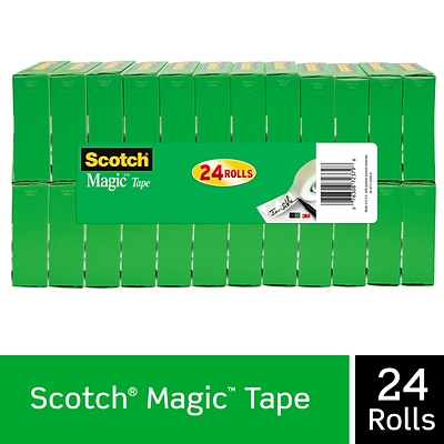Scotch® Magic Tape, Invisible, Write On, Matte Finish, 3/4 x 27.77 yds., 1 Core, 24 Rolls (810K24)