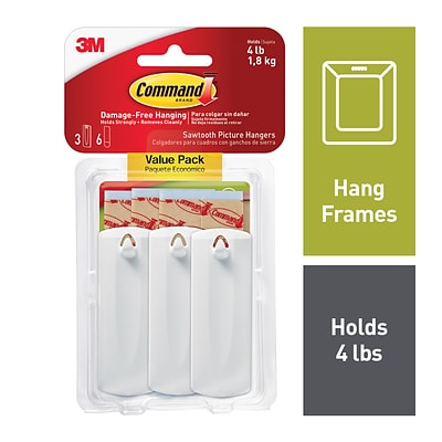 Command™ Sawtooth Picture Hangers, White, 3/Pack (17042)