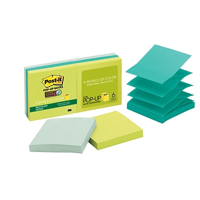 Post-it® Recycled Super Sticky Pop-up Notes, 3 x 3, Bora Bora Collection, 6 Pads/Pack (R330-6SST)