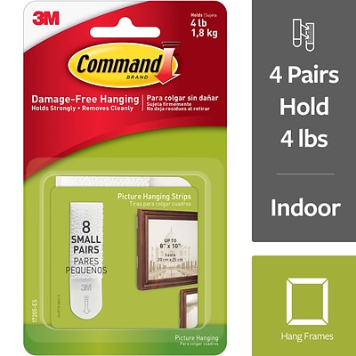 Command™ Small Picture Hanging Strips, White, 8 Sets (17205-ES)
