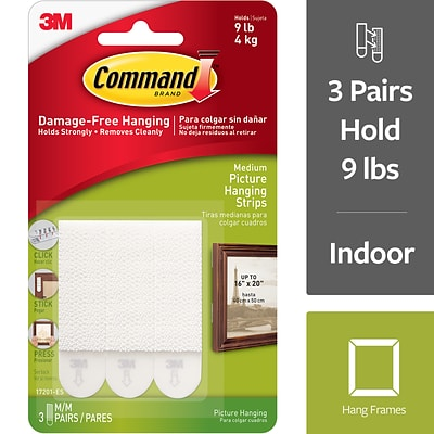 Command™ Medium Picture Hanging Strips, White, 3/Pack (17201)