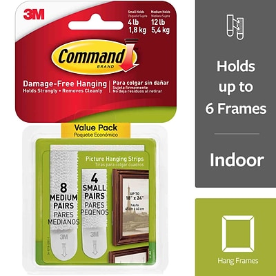 Command™ Small and Medium Picture Hanging Strips, White, 8 Medium and 4 Small Sets/Pack (17203-ES)
