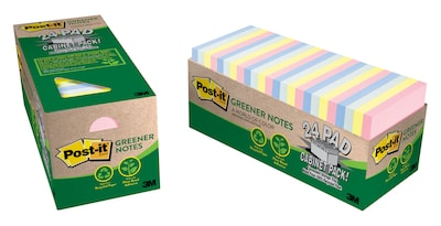 "Post-it® Greener Notes, 3"" x 3"", Helsinki Collection, 24 Pads/Cabinet Pack (654R-24CP-AP)"