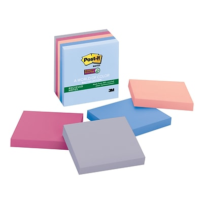 Post-it® Super Sticky Notes, 3 x 3, Bali Collection, Recycled, 5 Pads/Pack (654-5SSNRP)