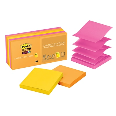 Post-it® Super Sticky Pop-Up Notes, 3 x 3 Rio de Janeiro Collection, 100 Sheets/Pad, 10 Pads/Pack (R33010SSAU)
