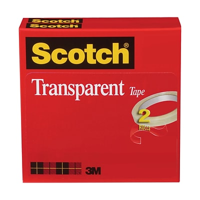 Scotch® Transparent Tape, 1/2 x 72 yds., 2 Rolls (600-2P12-72)