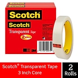 Scotch® Transparent Tape; 3/4 x 2592, 3 Core, 2/Pack