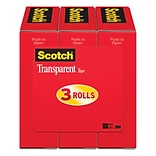 Scotch® Transparent Tape Refill, Crystal Clear Clarity Finish, Glossy, 1 x 72 yds., 3 Core, 3 Roll
