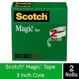 Scotch® Magic™ Tape Refill, Invisible, Write On, Matte Finish, 3/4 x 72 yds., 3 Core, 2 Rolls (810