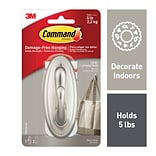 Command™ Large Traditional Hook, Brushed Nickel, 1/Pack