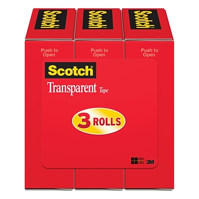 Scotch Transparent Tape, Wide Width, Engineered for Office and Home Use, 1 x 72 yds., 3 Rolls, Boxed (600-72-3PK)