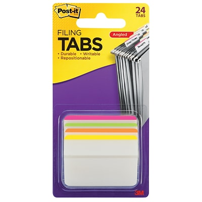 Post-it® Durable Tabs, 2 Wide, Angled, Lined, Assorted Colors, 24 Tabs/Pack (686A-1BB)