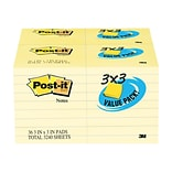 Post-it® Notes, 3 x 3, Canary Yellow, 36 Pads/Pack (654-36VAD90)