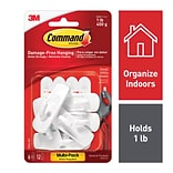 Command™ Small Utility Hooks Value Pack, White, 6 Hooks (17002-6ES)