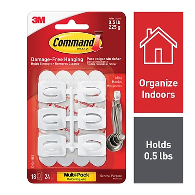Command™ Mini Hooks Value Pack, White, 18 Hooks (17006-18ES)