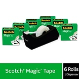 Scotch® Magic™ Tape Refill 810, 3/4 x 1000 with C38 Desktop Dispenser, 6 Rolls Tape, 1 Dispenser,