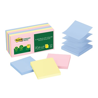 Post-it® Recycled Pop-Up Notes, 3 x 3, Helsinki Collection, 12 Pads/Pack (R330RP12AP)