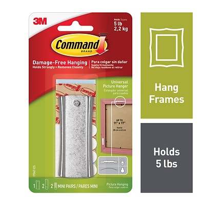Command™ Universal Picture Hanger w/ Stabilizer Strips, Silver (17047-ES)