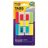Post-it® Durable Filing Tabs, 1 & 2, Assorted Colors, 114/Pack (686VAD2)