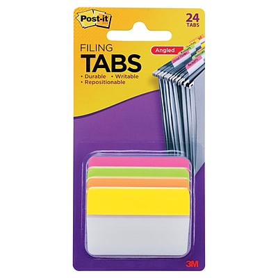 Post-it® Filing Tabs, 2 Wide, Angled, Solid, Assorted Colors, 24 Tabs/Pack (686A-PLOY)